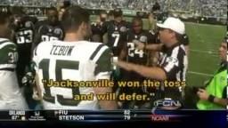 Tim Tebow Pre-Game Coin Toss Captain Fail (New York Jets vs. Jacksonville Jaguars)